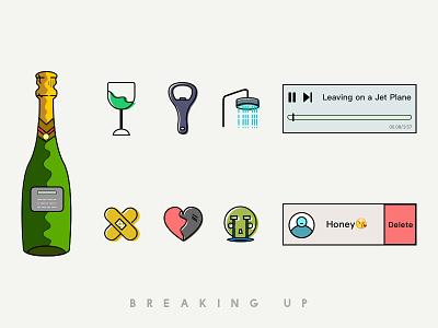 Breaking Up illustration music heartbreak opener delete shower bandage cry wineglass wine breaking up