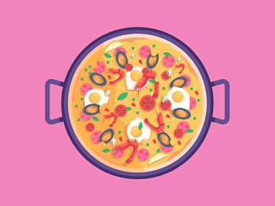 Paella Pan Stock ham prawn egg tomato rice spain food illustration paella pan stock