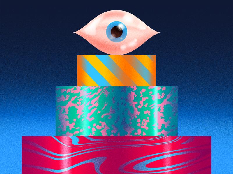 Layer King editorial illustration eye risograph risoprint pattern red design graphicdesign icon badge illustration