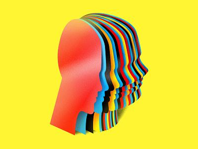 Mindgames profiles blue black red yellow editorial art editorial illustration science sci-fi minimal flat header graphicdesign icon logo illustration