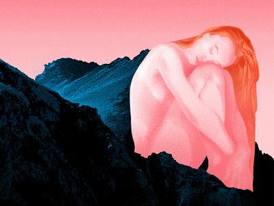 A Moment portrait sunrise mountain landscape vector texture graphicdesign linework illustration
