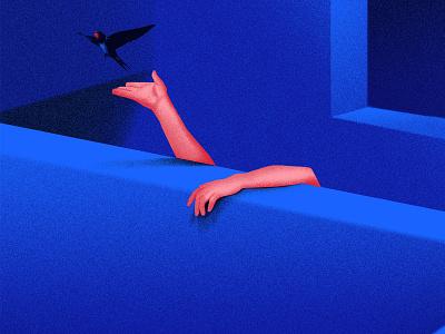 Hope blue bird architecture texture design illustration digital illustration conceptual art