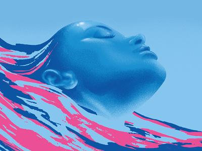 PosterxPoem pattern texture digital art art watercolour portrait blue beach summer swimming water graphicdesign linework illustration