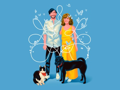 Double Trouble butterfly blue yellow cat dog couple marriage icon lettering design linework graphicdesign digital art digital portrait illustration