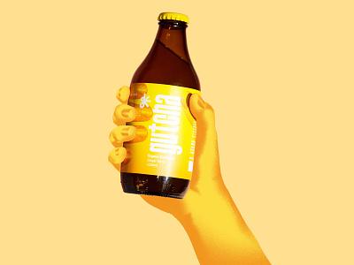 Gutcha Kombucha label design print design digital art artwork art texture yellow ginger kombucha packaging packaging design brand identity typography lettering logo graphicdesign illustration