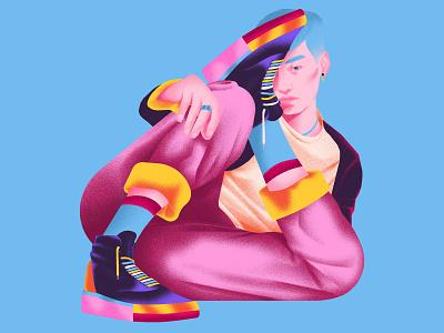 Funky Lifestyle lifestyle elegant art minimalism digital art japan cmyk blue yellow illustration pop art fashion graphic design