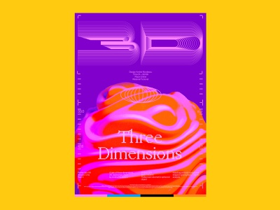 Three Dimensions neon pink poster cinema4d font type typography ui lettering icon illustration ill branding logo motion graphics animation 3d graphic design