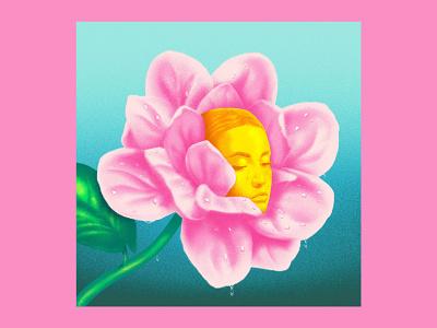 Dew digital painting fine art popart magnolia sun woman icon gold turquoise pink surreal portrait head flower digital art design linework graphicdesign illustration