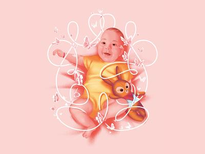 Vera family cute bunny digital digitalart pink character design portrait baby design linework icon logo illustration