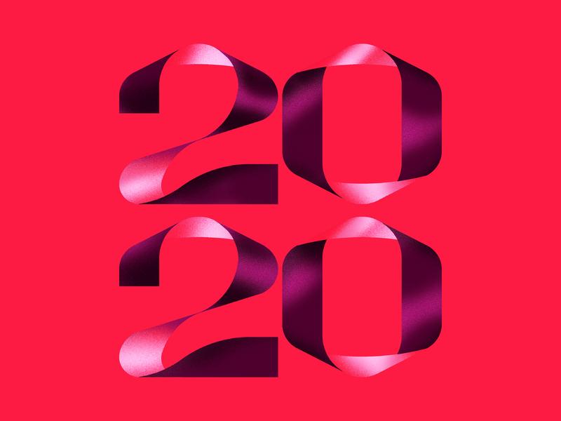 2020 Lettering ribbon font calendar 2020 red typeface minimal lettering design typography vector linework badge illustration
