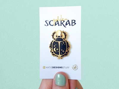 Golden Scarab Enamel Pin