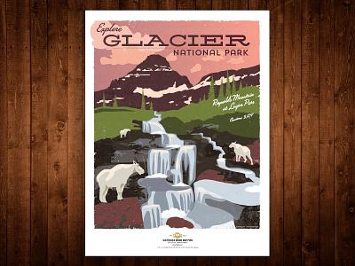 Glacier National Park Poster - Reynolds Mountain glacier typography illustration vintage poster nationalpark