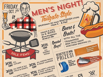 Men's Night Tailgate Party Ad vintage design advertising