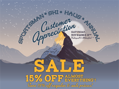 Customer Appreciation Sale  landscape mountain design advertising