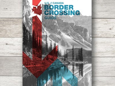US // Canada Border Crossing Guide Cover banff national park moraine lake cover design publication maple leaf united states canada
