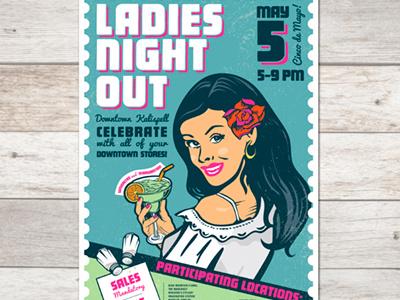 Ladies Night Out Poster señoritas and margaritas cinco de mayo