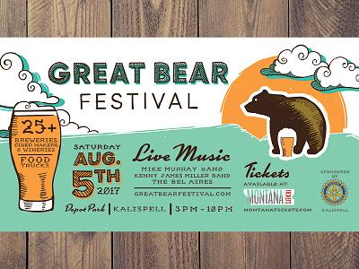Great Bear Festival poster design festival beer bear handdrawn