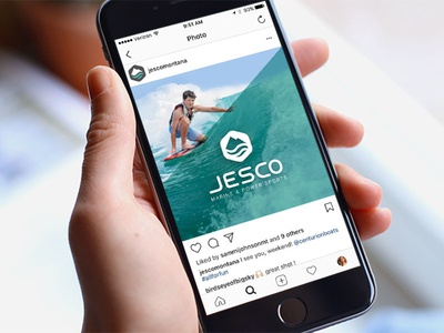Jesco Social Media Comp water mountain branding boating logo