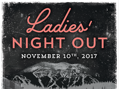 Ladies Night Out black and white event promo vintage typography pink event poster design