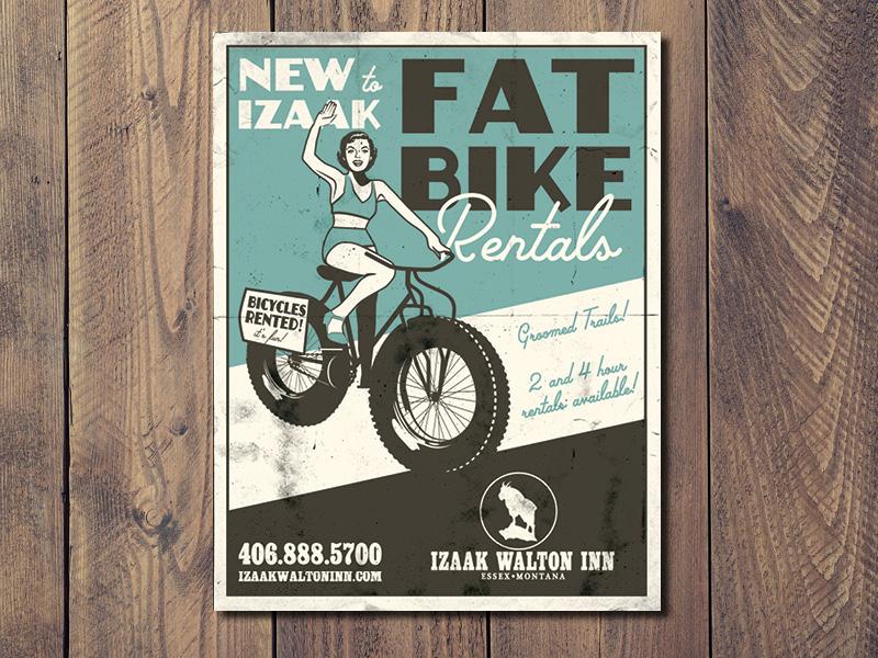 Fat Bike Vintage Poster poster design bicycles fat bike vintage illustration
