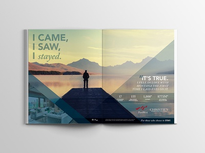 Montana Real Estate Ad Campaign advertising design whitefish mountain resort glacier park flathead lake real estate lifestyle ad campaign layout magazine montana