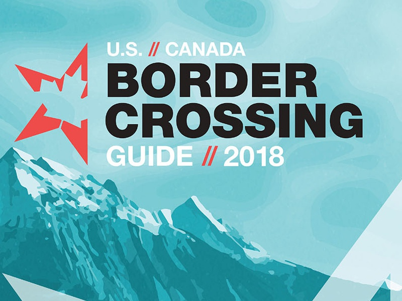 US // Canada Border Crossing Guide Cover 2018 banff national park moraine lake cover design publication maple leaf united states canada