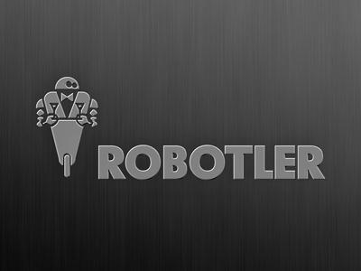 Robotler butler robot metal logo design