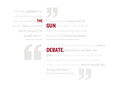 The Gun Debate newspaper layout gun word cloud cover design editorial layout quotes