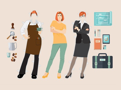 You're Hired emlpoyment paper doll cover design illustration