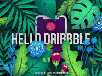 Hello Dribbble! noise noise shadow illustration ux ui hello dribbble tropics forest first shot design