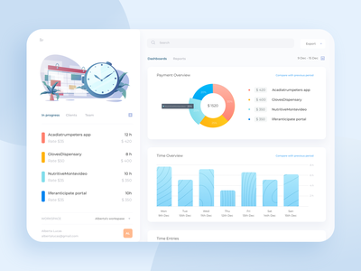 Time Tracking Software payment project management analytic statistics dashboard tracker ui