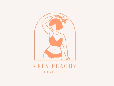 Very Peachy Lingerie woman illustration romantic lingerie feminine logo delicate illustration logo design branding design