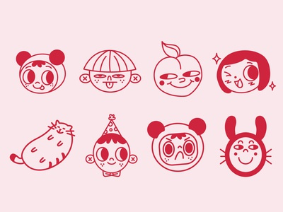 Sticker style illustrations sticker design stickers instagram cat characters funny illustration cute illustration