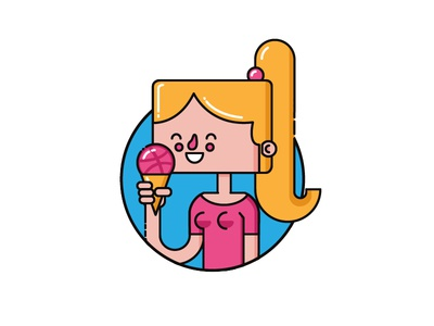 Hello Dribbble ice cone ice cream flat flat illustration girl dribbble