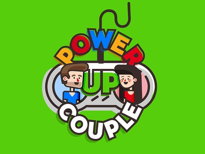 Power Up Couple colorful flat illustration controller gaming couple