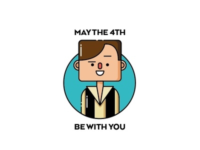 May the 4th be with you flat flat illustration han solo star wars