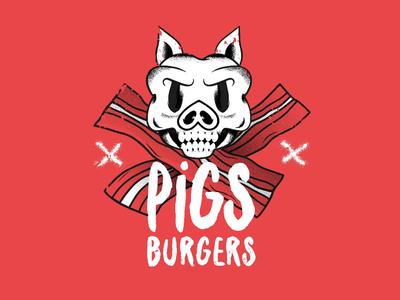 Pigs Burgers grunge illustration logo bacon skull burger pig