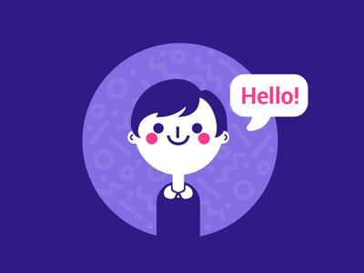 Dany V.2 short hair girl cute website portrait illustration