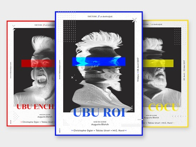 Hello Dribbble! First shot layout pantone posters identity branding red yellow blue design print plays theatre