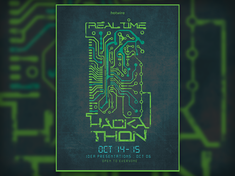 Real Time Hackathon Identity design poster