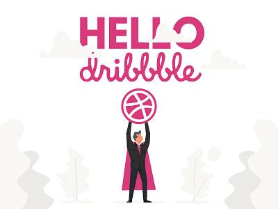 Hello Dribbble! character businessman business hero superman illustration first shot debut