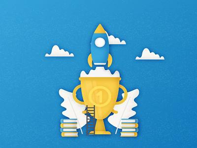 Startup header college school blue book rocket education concept site page design header startup