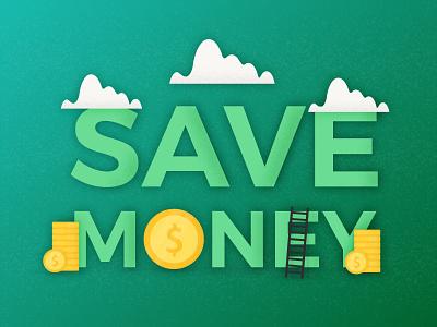 Save money typography green background finance bank illustration business dollar cash page money save