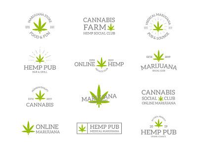 Hemp  emblems design business illustration weed drug plant hemp emblem logo cannabis leaf marijuana vintage retro