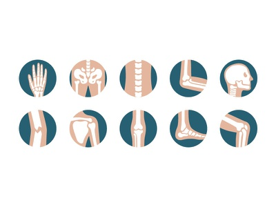 Human joints and bones hand foot elbow skull scapula pelvis leg knee icon background symbol skeleton orthopedic bone joint human design business illustration