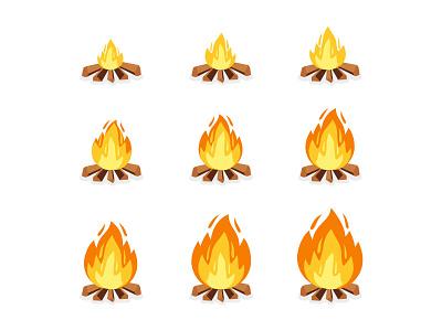 Fire sprites typography background business design game campfire flames torch explosion frames burning bonfire illustration cartoon animation sprite fire camp