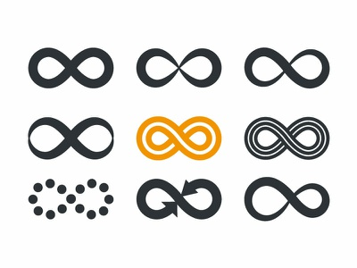 Infinity symbols microstock icon typography design cyclicity unlimited repetition symbol infinity illustration