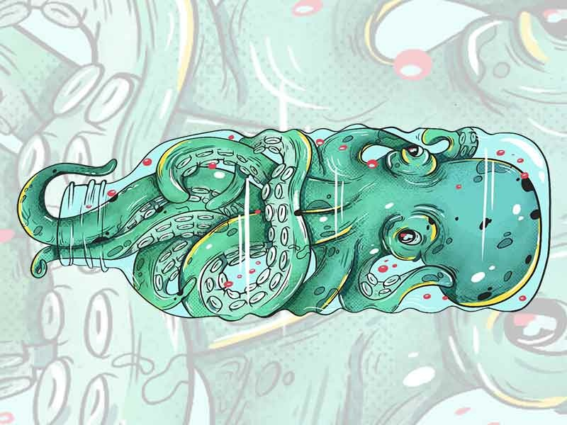 """""""Be A part of The Solution Not Part of The Pollution"""" eco pollution illustration illusions octopuss"""
