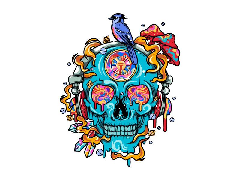 Psy skull (commission work , sold) psychedelic hiphop flowers floral dailysketch gothic design music wild nature dark skull cool vectorart illustrate colorful vector illustration love