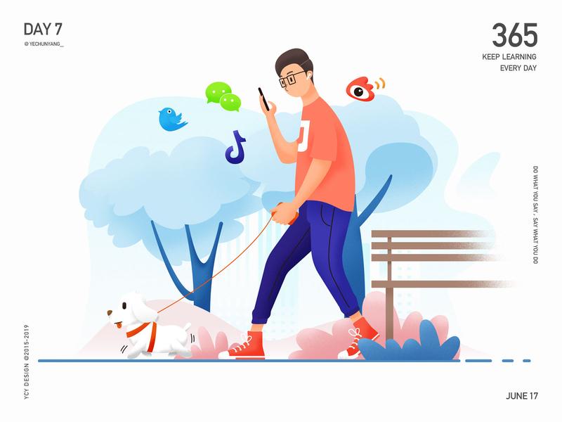 walk my dog character people ui illustration airpods walk wechat tik tok twitter park outdoor trees puppy dog boy